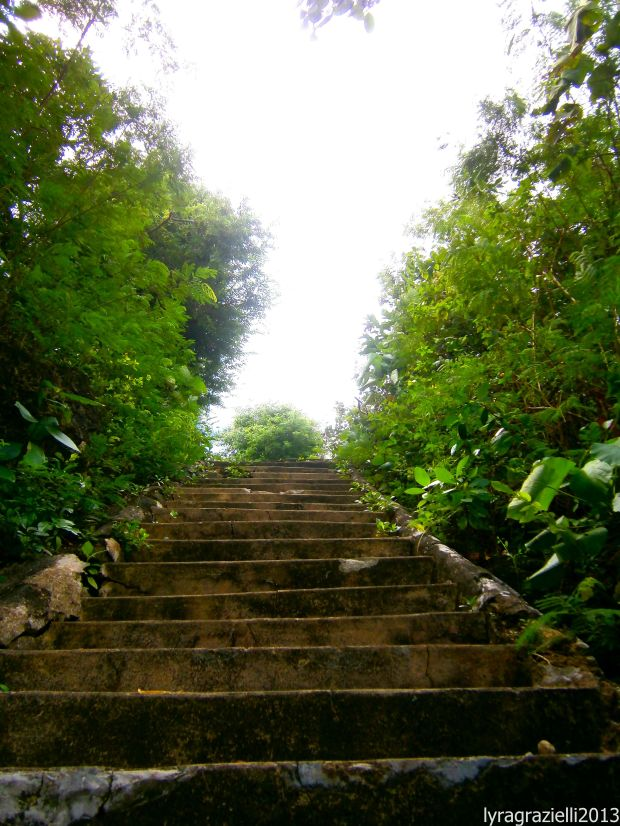The steps leading up to the light tower.